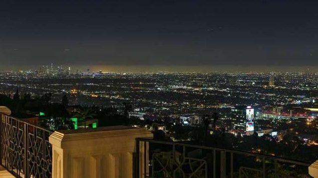 Night time view from the Danny Thomas mansion.