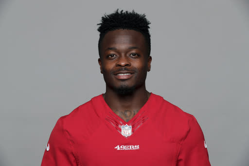 FILE - This is a 2017 file photo showing Marquise Goodwin of the San Francisco 49ers NFL football team. Marquise Goodwin has won the 2018 George Halas Award from the Professional Football Writers of America. The Halas Award is given to a NFL player, coach or staff member who overcomes the most adversity to succeed. Goodwin had a career year on the field while dealing with family tragedies during the 2017 season. (AP Photo/File)