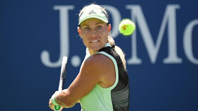 Angelique Kerber was knocked out in a first-round thriller at the Zhengzhou Open, but Jelena Ostapenko survived a major scare.