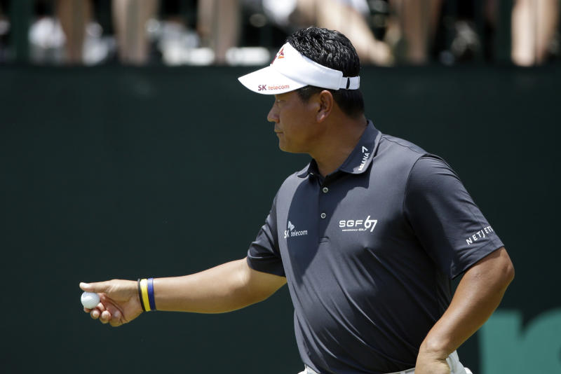 K.J. Choi, of South Korea, reacts after putting on the second hole during the third round of the U.S. Open golf tournament at Merion Golf Club, Saturday, June 15, 2013, in Ardmore, Pa. (AP Photo/Gene J. Puskar)