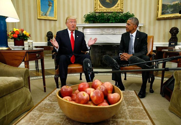 <p>President Obama meets with President-elect Donald Trump to discuss transition plans in the White House Oval Office in Washington, Nov. 10, 2016. (Kevin Lamarque/Reuters) </p>