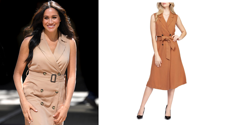 Meghan Markle in one of her signature styles: a belted trench dress.