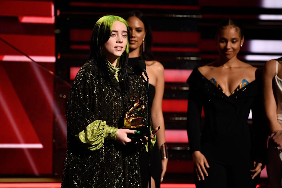 Billie Eilish accepts the award for best new artist during the 62nd annual Grammy Awards.