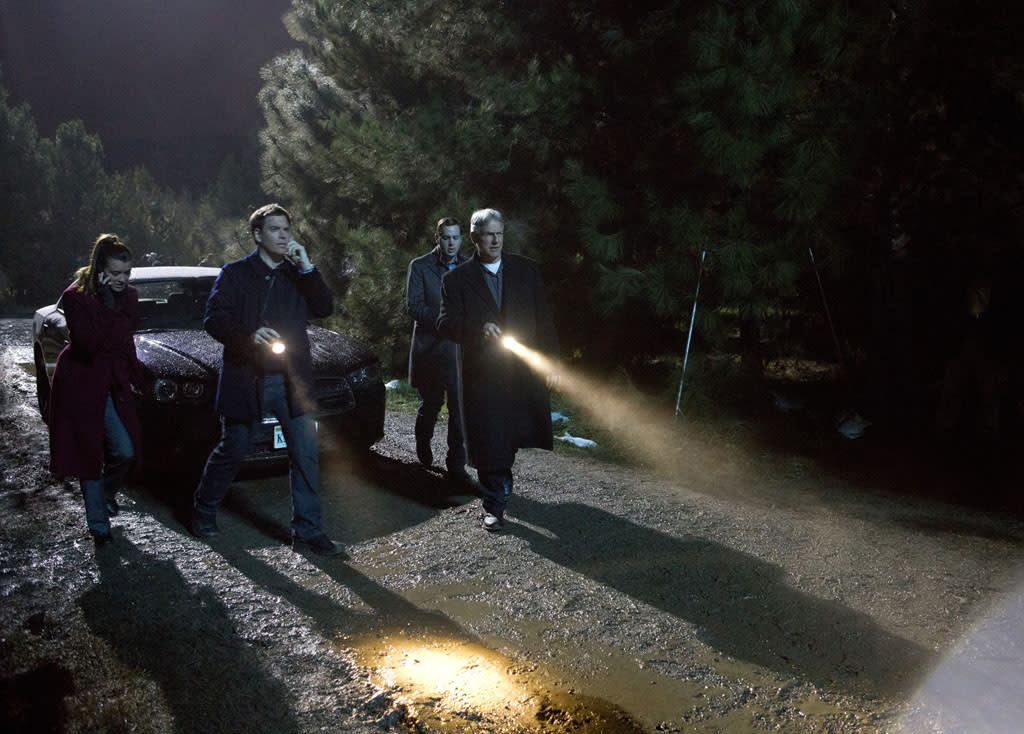 """Detour"" -- The NCIS team (l-r Cote de Pablo, Michael Weatherly, Sean Murray and Mark Harmon) races to track down Ducky and Jimmy after the two disappear while transporting a body from a crime scene."