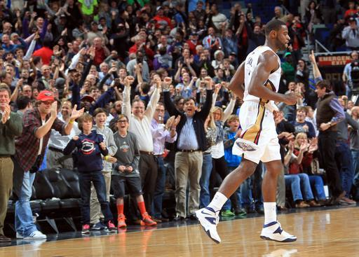 NEW ORLEANS, LA - DECEMBER 30: Tyreke Evans #1 of the New Orleans Pelicans celebrates after hitting the game winning basket against the Portland Trail Blazers on December 30, 2013 at the New Orleans Arena in New Orleans, Louisiana. (Photo by Layne Murdoch/NBAE via Getty Images)
