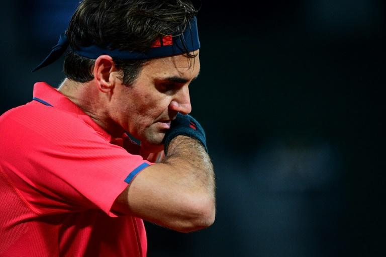 All over: Roger Federer reacts as he plays against Dominik Koepfer