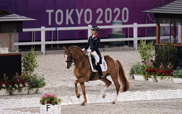 Great Britain's Charlotte Dujardin in action during the dressage team event at Tokyo 2020