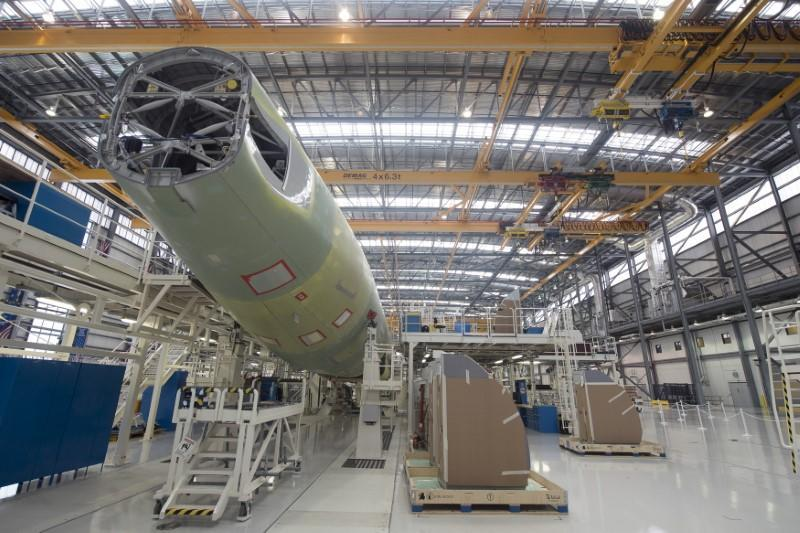 FILE PHOTO: An Airbus A321 is being assembled in the final assembly line hangar at the Airbus U.S. Manufacturing Facility in Mobile