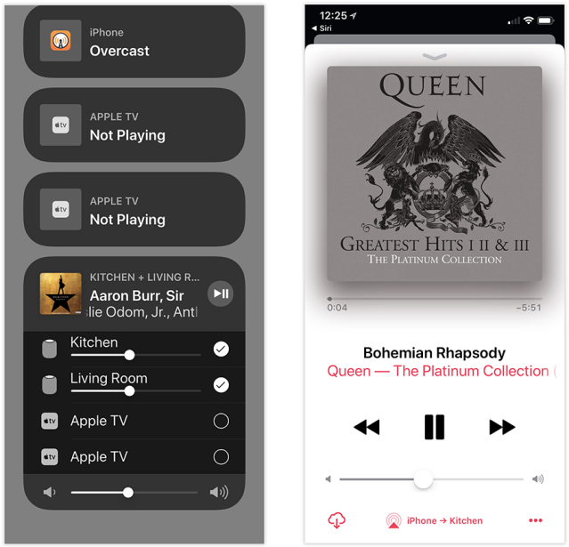 You can also use the AirPlay icon, wherever it may appear in your apps, to open that same panel (right).