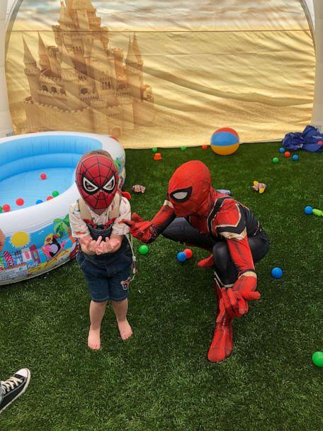 PHOTO: Brody, 4, plays with his favorite superhero Spider-Man in his new play area from Make-A-Wish Connecticut. (Jim Molodich)