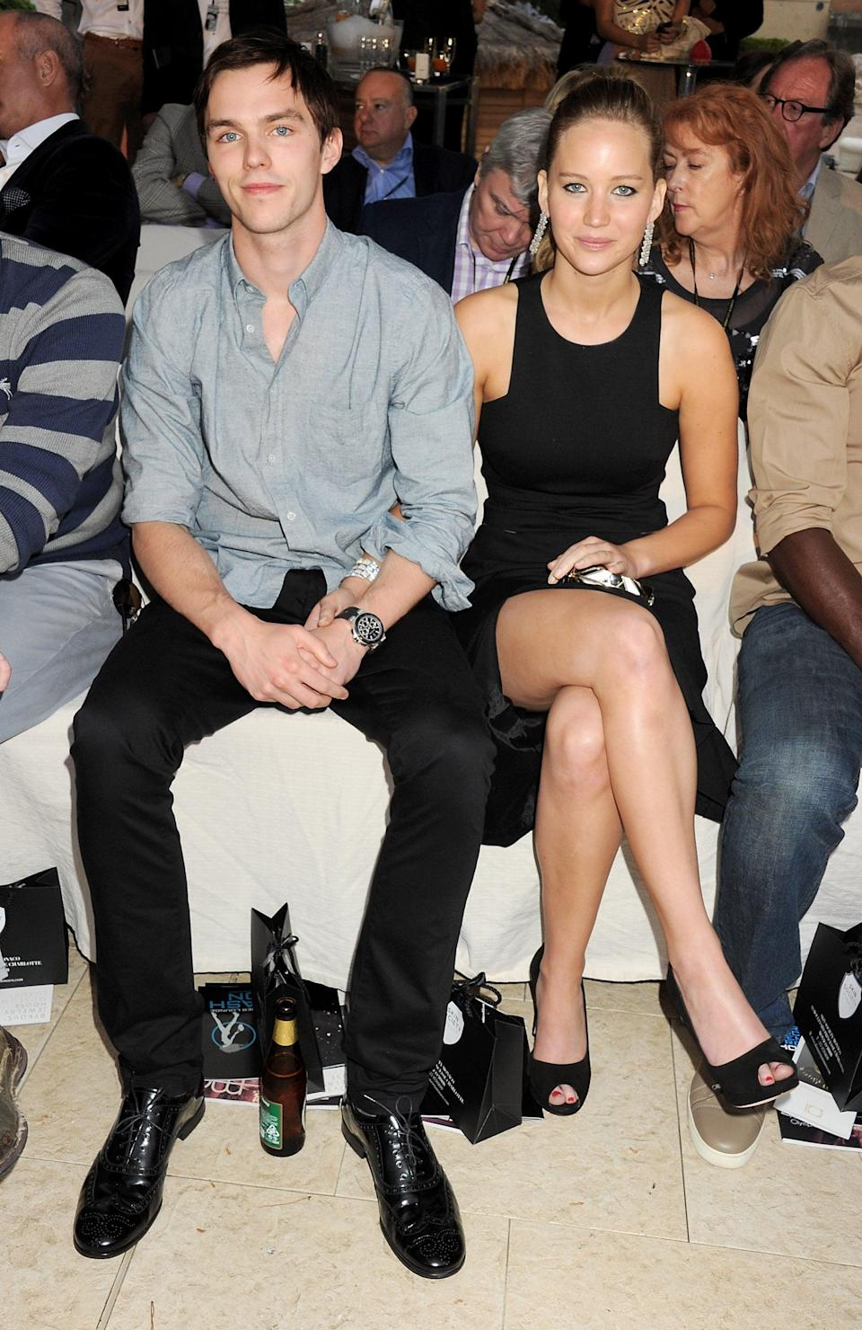 """<p>Jennifer and Nicholas got together on the set of <strong>X-Men: First Class</strong> in 2010, and dated on and off until 2014, right around the time when <strong>X-Men: Days of Future Past</strong> wrapped. Since then, the two have had to work together on <strong>X-Men: Apocalypse</strong>, which released in 2016, and <strong>Dark Phoenix</strong>, which came out in 2019. Luckily, their characters, Beast and Mystique, didn't have <em>too</em> many intimate scenes. </p> <p>During a January 2019 interview with <strong>Evening Standard</strong>, Nicholas said that <a href=""""http://www.standard.co.uk/lifestyle/esmagazine/nicholas-hoult-fatherhood-acting-a4047041.html"""" class=""""link rapid-noclick-resp"""" rel=""""nofollow noopener"""" target=""""_blank"""" data-ylk=""""slk:working with Jennifer post-breakup wasn't at all weird"""">working with Jennifer post-breakup wasn't at all weird</a>. """"It's pretty similar to <strong>Skins</strong>,"""" he said, referring to the show he starred in at the beginning of his career. """"We're a big family. We've been doing those movies since we were 20 years old. As much as the<strong> Skins </strong>crowd grew up together, the <strong>X-Men</strong> crowd really grew up together. It's been a good eight, nine years making those movies. We've all got to get along. We've all got to have fun."""" </p>"""