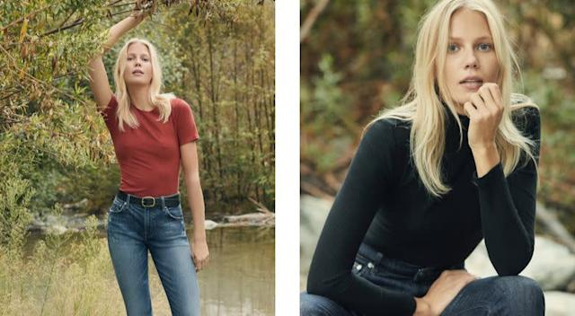 Left: Camille High Cigarette Jean in tigris, <span>$118 at Reformation</span>. Right: Hepburn High Skinny Jean in hayes, <span>$98 at Reformation</span>.