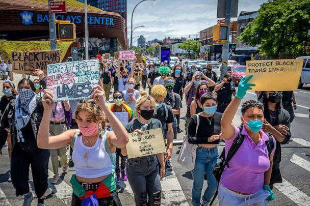 PHOTO: A large crowd of LGBTQ youth march in Brooklyn during Pride Month in support of the Black Trans Lives Matter movement and demanding justice for all victims of police brutality as well as calling to defund the NYPD, on June 17, 2020 in New York.  (Erik Mcgregor/LightRocket via Getty Images, FILE)
