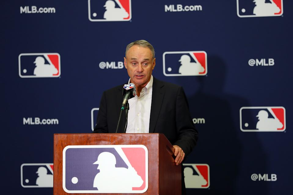 Rob Manfred said Monday he's not certain there will be an MLB season in 2020, which set off a firestorm of reaction from players. (Photo by Alex Trautwig/MLB via Getty Images)