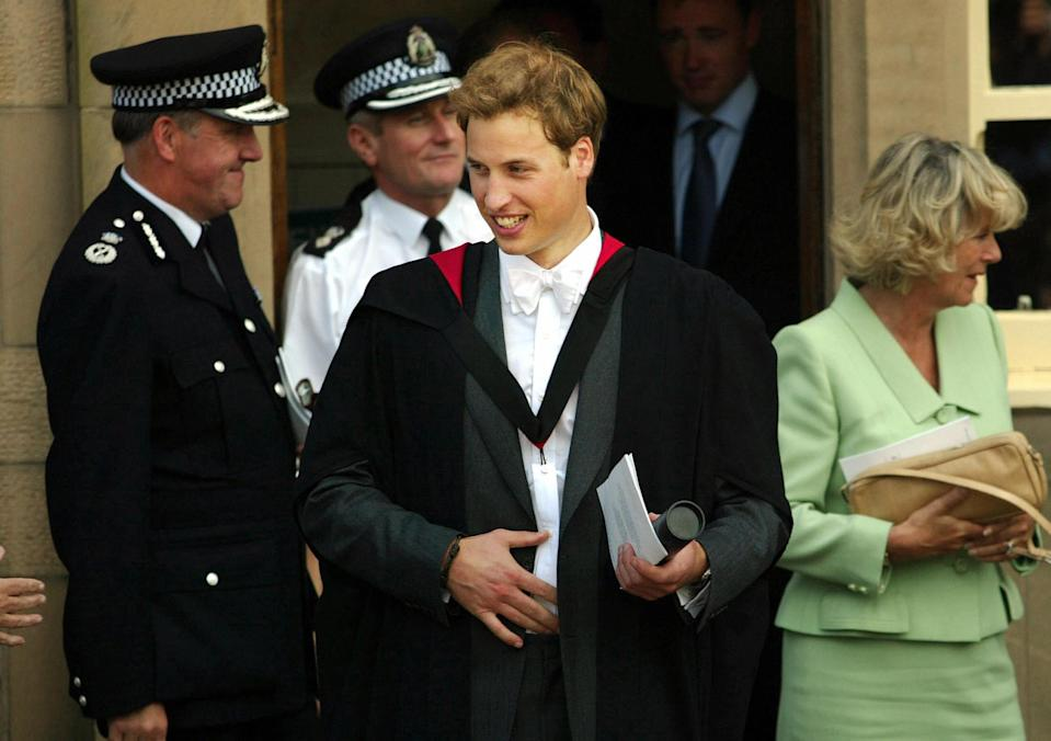 St Andrews, UNITED KINGDOM:  Prince William departs St Andrews police station after his graduation ceremony at St Andrews University, Thursday June 23, 2005. William got a 2:1 in geography after four years studying for his Master of Arts. Prince William, the second in line to the British throne, graduated from university Thursday to embark on a new chapter in his life, which will include work experience in London and a possible army career. AFP PHOTO POOL MICHAEL DUNLEA  (Photo credit should read MICHAEL DUNLEA/AFP via Getty Images)