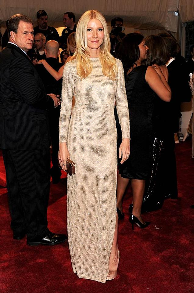 "Gwyneth Paltrow went with the mod look in a long-sleeve, body-hugging sequined Stella McCartney dress that showed off the star's svelte figure. All that healthy eating she's always talking about is clearly paying off! Larry Busacca/<a href=""http://www.gettyimages.com/"" target=""new"">GettyImages.com</a> - May 2, 2011"