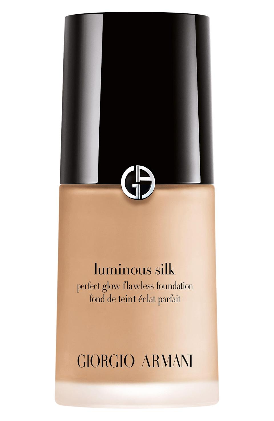 """<p><strong>GIORGIO ARMANI</strong></p><p>nordstrom.com</p><p><a href=""""https://go.redirectingat.com?id=74968X1596630&url=https%3A%2F%2Fwww.nordstrom.com%2Fs%2Fgiorgio-armani-luminous-silk-perfect-glow-flawless-oil-free-foundation%2F2853110&sref=https%3A%2F%2Fwww.elle.com%2Fbeauty%2Fg35951728%2Fnordstrom-beauty-sale%2F"""" rel=""""nofollow noopener"""" target=""""_blank"""" data-ylk=""""slk:Shop Now"""" class=""""link rapid-noclick-resp"""">Shop Now</a></p><p><strong><del>$44 </del>$37.40 (15% off) </strong></p>"""