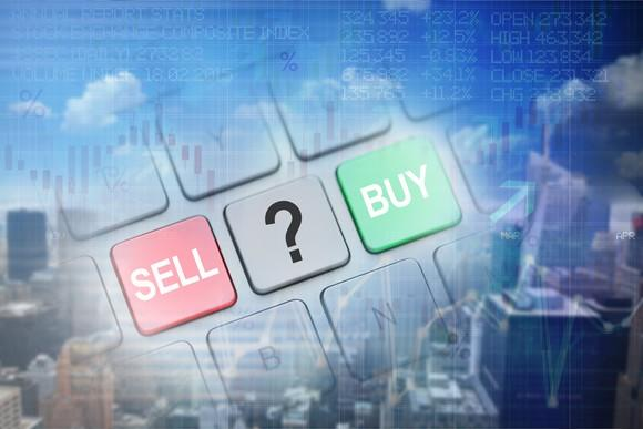 Buy and sell options on a keyboard.