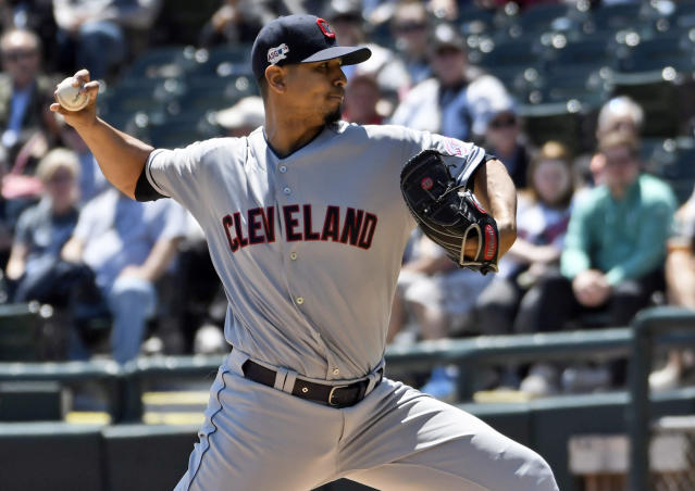 Cleveland Indians starter Carlos Carrasco pitches against the Chicago White Sox during the first inning of a baseball game, Tuesday, May 14, 2019, in Chicago. (AP Photo/David Banks)