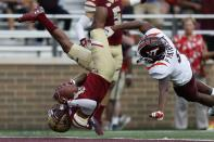 Boston College defensive back Brandon Sebastian (10) intercepts the pass intended for Virginia Tech wide receiver Phil Patterson during the second half of an NCAA college football game in Boston, Saturday, Aug. 31, 2019. (AP Photo/Michael Dwyer)