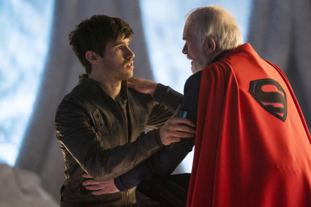 Cameron Cuffe and Ian McElhinney in the Season 1 finale of <em>Krypton.</em> (Photo: Steffan Hill/Syfy)