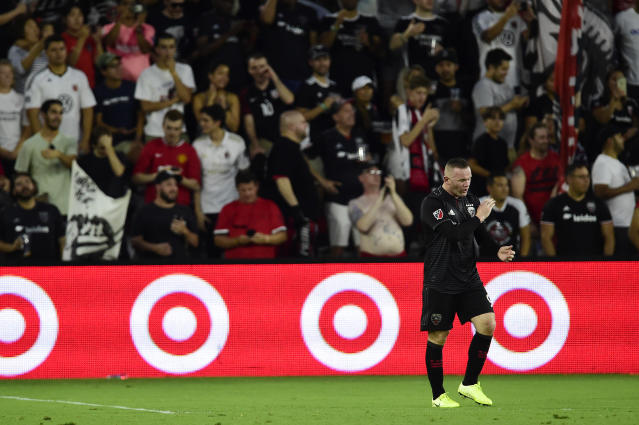 Record: Rooney has a strike rate of more than one goal every other game in the US. (Photo by Patrick McDermott/Getty Images)