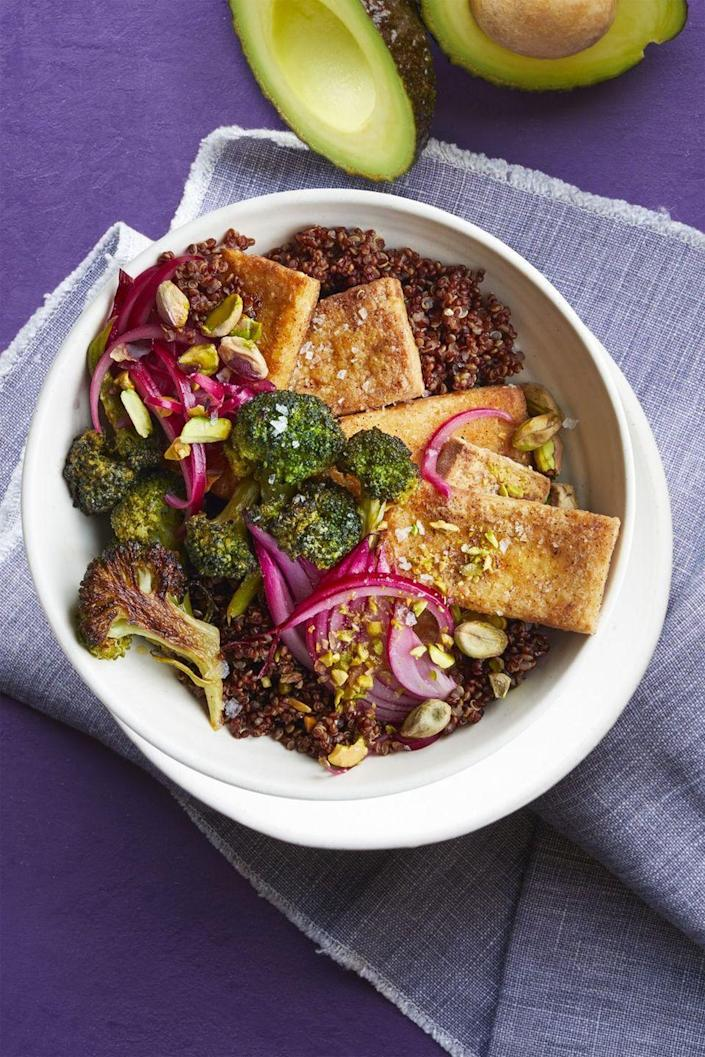 """<p>The broccoli gets tossed in honey mustard before roasting for a sweet-tangy surprise!</p><p><em><a href=""""https://www.womansday.com/food-recipes/food-drinks/recipes/a61044/tofu-broccoli-bowl-recipe/"""" rel=""""nofollow noopener"""" target=""""_blank"""" data-ylk=""""slk:Get the recipe from Woman's Day »"""" class=""""link rapid-noclick-resp"""">Get the recipe from Woman's Day »</a></em></p>"""