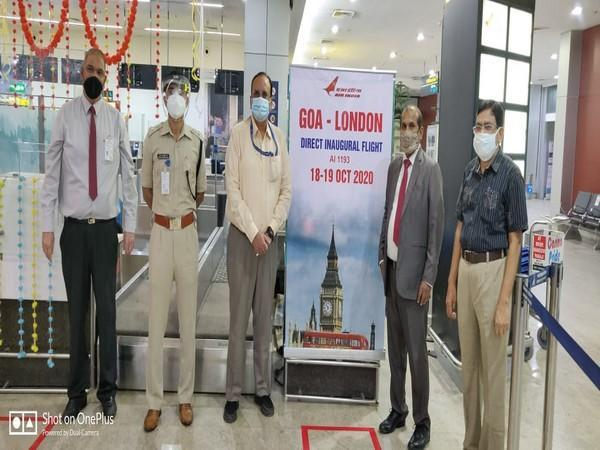 Officials present at the Goa Aiport on the occassion of the inaugural flight between Goa and London. Photo/Goa airport