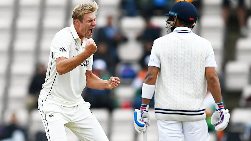 Kyle Jamieson, pictured here celebrating the wicket of Virat Kohli in the ICC World Test Championship final.