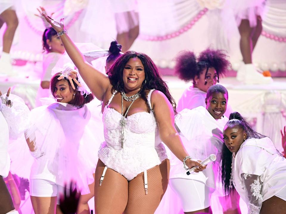 Lizzo performs onstage at the 2019 BET Awards: Getty