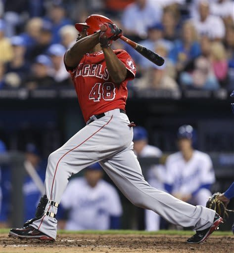 Los Angeles Angels' Torii Hunter watches his RBI single against the Kansas City Royals in the eighth inning during a baseball game Saturday, Sept. 15, 2012, in Kansas City, Mo. (AP Photo/Ed Zurga)