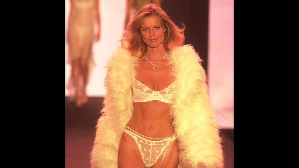 "<p>Model and actress Eva Herzigova last walked the Victoria's Secret runway in 2001. Though she hasn't modeled for Victoria's Secret in a while, she's still very active in the industry, appearing on the cover of several foreign editions of Elle in 2017, as well as starring in campaigns for Roberto Cavalli and Bottega Veneta. Herzigova is also a costume designer.</p> <p><em><strong>Keeping Their Cash Quiet: <a href=""https://www.gobankingrates.com/net-worth/celebrity-net-worths-surprise/?utm_campaign=489384&utm_source=yahoo.com&utm_content=20"" rel=""nofollow noopener"" target=""_blank"" data-ylk=""slk:Celebrity Net Worths That Will Surprise You"" class=""link rapid-noclick-resp"">Celebrity Net Worths That Will Surprise You</a></strong></em></p>"