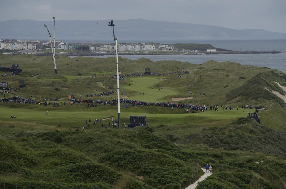 A general view of Royal Portrush golf course as golfers compete in the first round of the British Open Golf Championships at Royal Portrush in Northern Ireland, Thursday, July 18, 2019.(AP Photo/Matt Dunham)