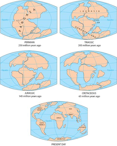 The breakup of the Pangaea supercontinent.