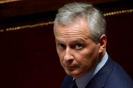 FILE PHOTO: French Finance Minister Bruno Le Maire attends the questions to the government session at the National Assembly in Paris, France, November 27, 2018. REUTERS/Gonzalo Fuentes/File Photo