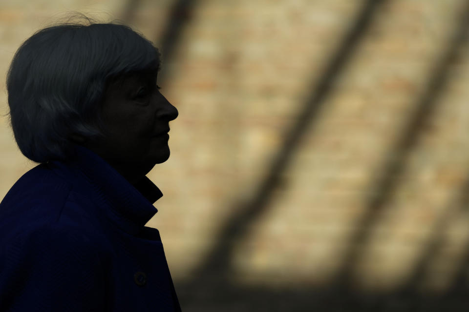United States Secretary of the Treasury Janet Yellen arrives to attend a press conference at a G20 Economy, Finance ministers and Central bank governors' meeting in Venice, Italy, Sunday, July 11, 2021. (AP Photo/Luca Bruno)