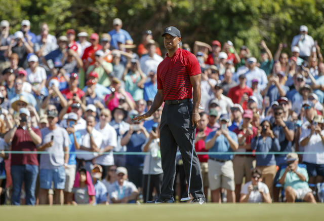 Tiger Woods reacts to a missed putt on the sixth hole during the final round of the Valspar Championship golf tournament Sunday, March 11, 2018, in Palm Harbor, Fla. (AP Photo/Mike Carlson)