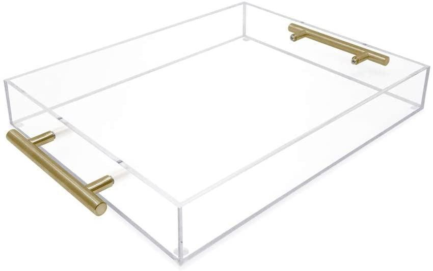 <p>This <span>Isaac Jacobs Clear Acrylic Serving Tray </span> ($35) would look cute on your dresser.</p>