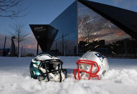 FILE PHOTO - Jan 31, 2018; Minneapolis, MN, USA; General overall view of Philadelphia Eagles and New England Patriots helmets at U.S. Bank Stadium prior to Super Bowl LII. Mandatory Credit: Kirby Lee-USA TODAY Sports