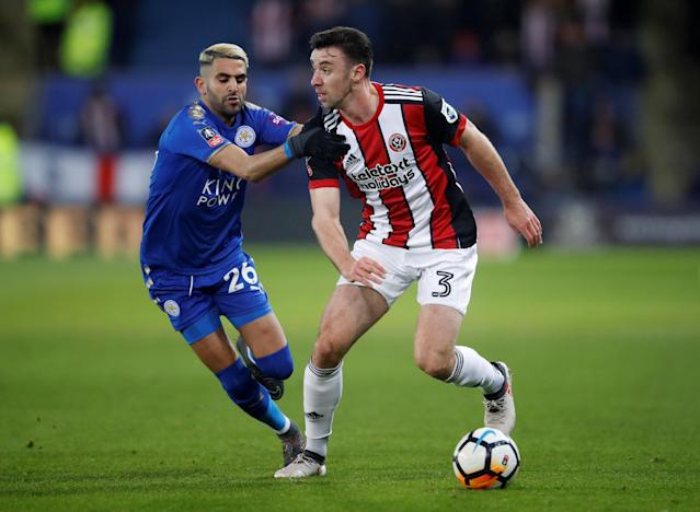Soccer Football - FA Cup Fifth Round - Leicester City vs Sheffield United - King Power Stadium, Leicester, Britain - February 16, 2018 Sheffield United's Enda Stevens in action with Leicester City's Riyad Mahrez Action Images via Reuters/Carl Recine
