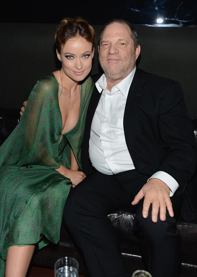 Actress Olivia Wilde with producer Harvey Weinstein in 2012 at a Cinema Society event's after-party in New York City.