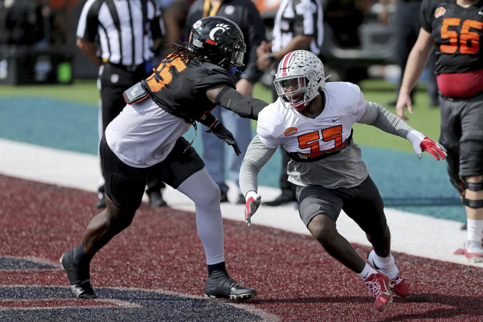 National Team linebacker Baron Browning of Ohio State has impressed this week at the Senior Bowl. (AP Photo/Rusty Costanza)
