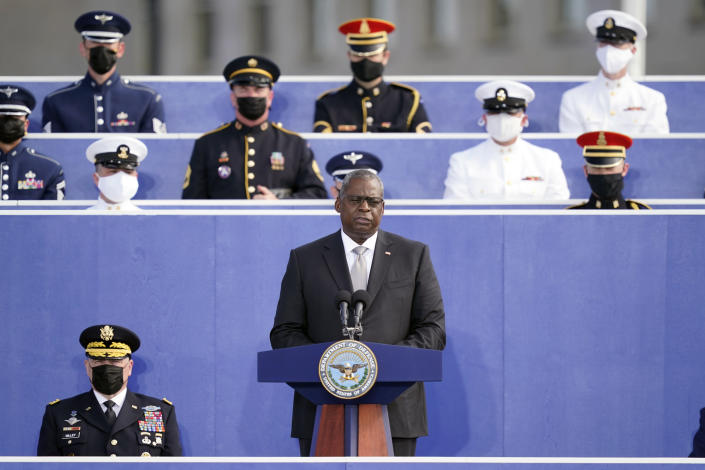 Secretary of Defense Lloyd Austin speaks during an observance ceremony at the Pentagon in Washington, Saturday, Sept. 11, 2021, on the morning of the 20th anniversary of the terrorist attacks. (AP Photo/Alex Brandon)