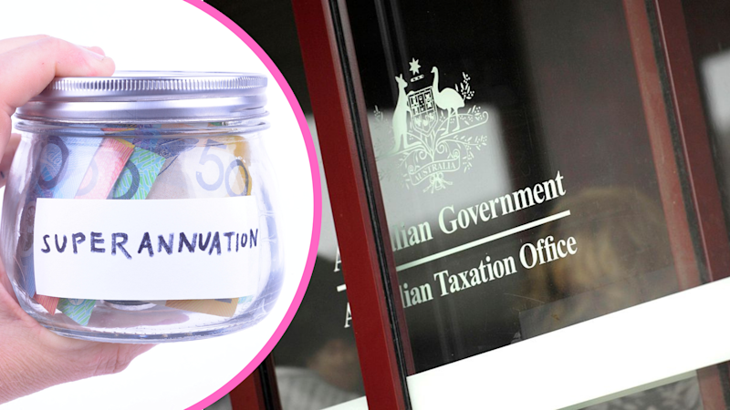 Pictured: Australian Tax Office building, jar of money titled 'superannuation'. Images: Getty