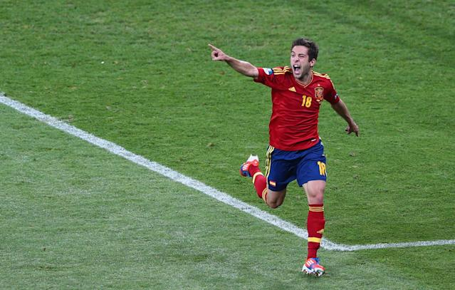 KIEV, UKRAINE - JULY 01: Jordi Alba of Spain celebrates scoring their second goal during the UEFA EURO 2012 final match between Spain and Italy at the Olympic Stadium on July 1, 2012 in Kiev, Ukraine. (Photo by Michael Steele/Getty Images)