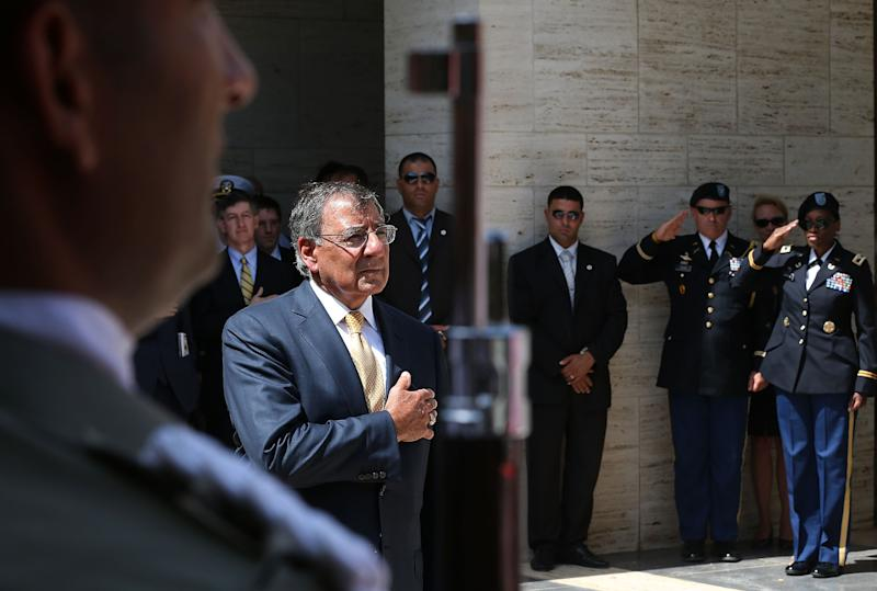Defense Secretary Leon Panetta participates in a wreath laying ceremony at the North Africa American Cemetery where US Soldiers who were killed in WWII are buried , Monday, July 30, 2012, in Tunis, Tunisia. Panetta is on a five day trip to the Middle-East with stops in Tunisia, Egypt, Israel and Jordan before returning to Washington. (AP Photo, Mark Wilson, Pool)