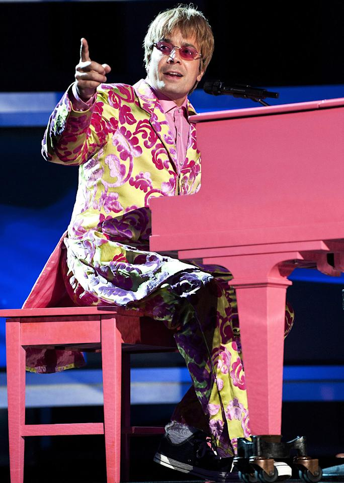 "<p>Jimmy Fallon hosted the awards, which meant that there was no shortage of jokes, <a href=""https://www.youtube.com/watch?v=RPR0VrbTcy8"">musical numbers</a> or costume changes. Here, he dressed like none other than Sir Elton John. </p>"