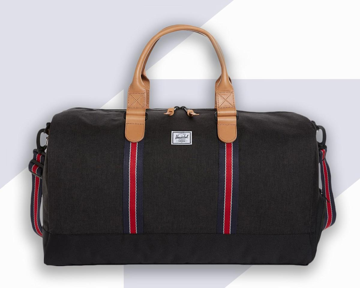 """<p>Herschel became a household name for backpacks way back when, and now its luggage is finally getting the credit it deserves. This duffel is an ideal size (21""""W x 13""""H x 12""""D) for short trips. It has top carry handles, an adjustable shoulder strap, and an exterior shoe compartment—because let's face it, traveling with one pair of shoes can be a challenge.</p> <p><strong>Buy Now</strong>: $120, <a href=""""https://click.linksynergy.com/deeplink?id=mcB7N8bf3MY&mid=1237&u1=bestcarryon&murl=https://shop.nordstrom.com/s/herschel-supply-co-novel-duffle-bag-nordstrom-exclusive/4563557"""" rel=""""nofollow"""">nordstrom.com</a></p>"""