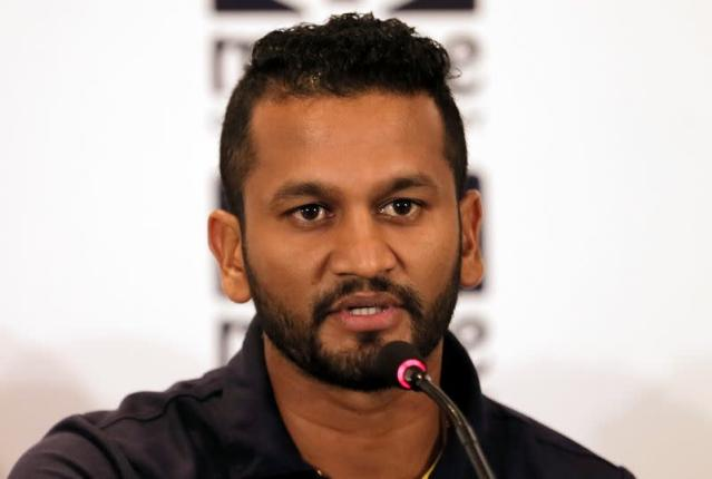 Sri Lanka cricket captain Dimuth Karunaratne speaks during a news conference ahead of the two test cricket matches against England for the ICC World Test Championship in Colombo