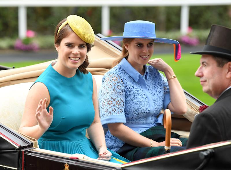 ASCOT, ENGLAND - JUNE 18: Princess Eugenie of York and Princess Beatrice of York attend day one of Royal Ascot at Ascot Racecourse on June 18, 2019 in Ascot, England. (Photo by Karwai Tang/WireImage)